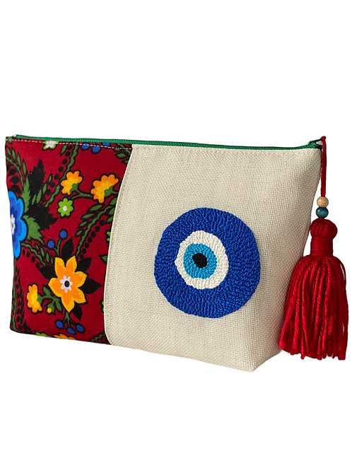 Pazen Nazar Boncuk İşlemeli Çanta