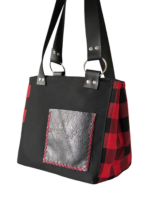 Siyah Kırmızı Ekose Deri Cepli Çanta