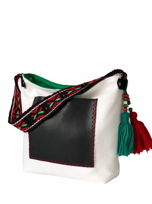Kırmızı/Yeşil Peru Dokuma Askılı Deri Cepli Çanta