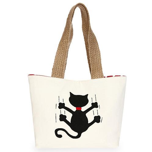 Kedili Kırmızı Puantiye Çanta
