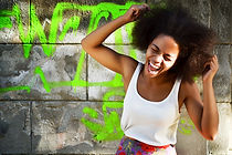 young happy and  pretty afro woman laugh