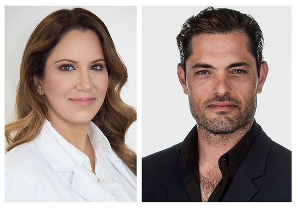 Image is divided into two columns separated by white lines. The left column shows Dr. Sarah Yovino's headshot. She smiles at the camera, wearing a white lab coat. Her brown hair is curled. The right column shows Dr. Justin Yovino's headshot. He wears a serious facial expression and is dressed in a black collared shirt with a dark blazer. His dark brown hair is gelled back.