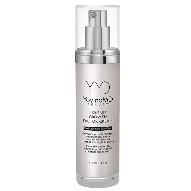 Image of YovinoMD Beauty Premium Growth Factor Cream. It is in a silver, air-pump container.