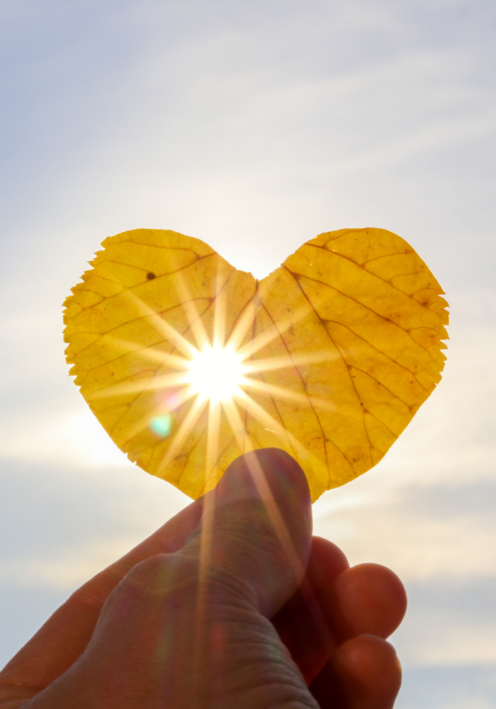 A single hand holds a bright yellow, heart-shaped leaf up to a blue sky. The sun shines through a small hole in the middle of the leaf.