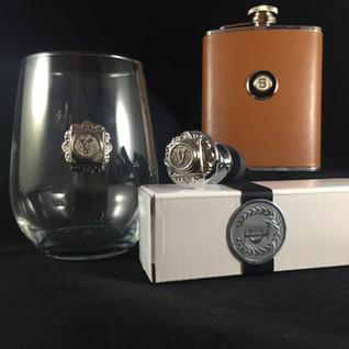 Wine glass, flask, stopper