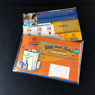 Direct mail with inserted custom bag