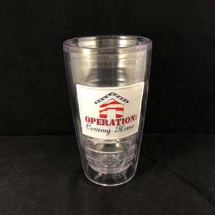 Tumbler with embroidered patch
