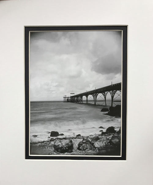 """Clevedon Pier at high tide - unique mounted photograph wall art 12x10"""""""