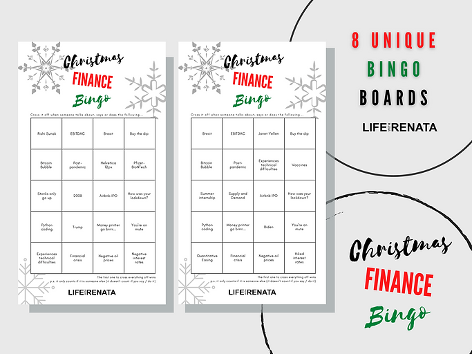 Christmas Finance Bingo - Instant Download