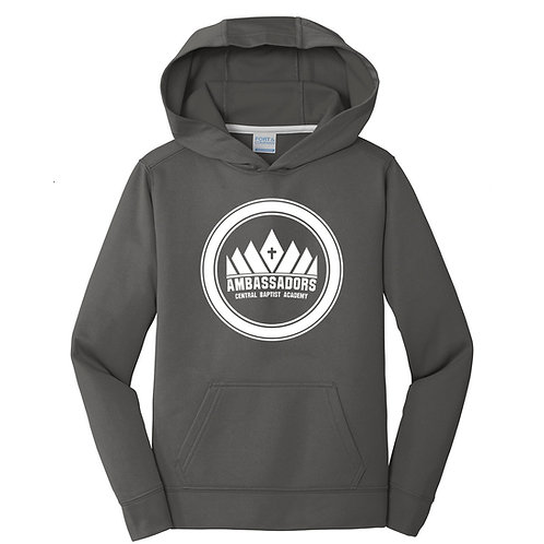 CBA Youth Performance Hoodie - Charcoal