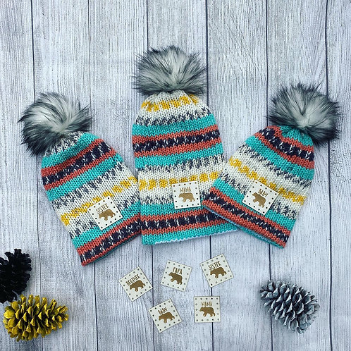 Knitted Bear Beanies (Kid and Adult Sizes)