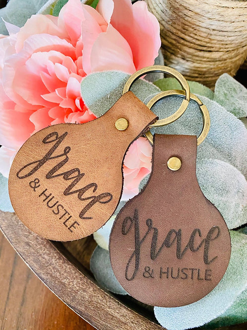 Grace + Hustle - Leather Keychain