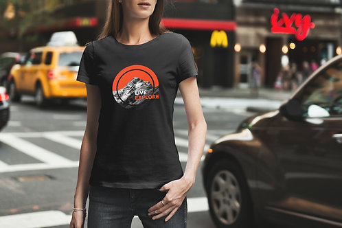 Live . Explore Circle Female Graphic T-Shirt