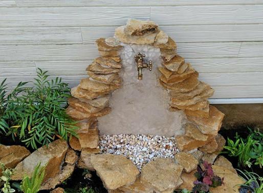 自然石を使ったオリジナル立水栓(習志野市 T様邸)