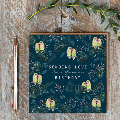 Sending Love on your Birthday - Lovebirds