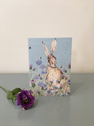 Hare and Wild Flower Plantable Seed Card
