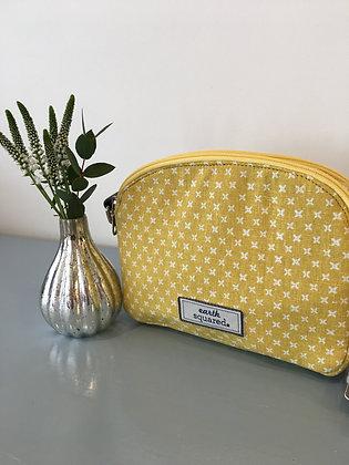 Yellow Spring Linen Halfmoon Bag