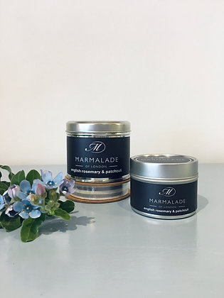 English Rosemary & Patchouli Small Candle Tin