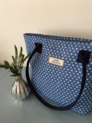 Blue Spring Linen Tote Bag