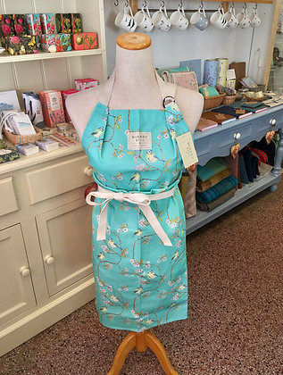 Blue Tit on Blossom Ditsy Print Apron - Turquoise