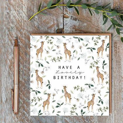 Have a Lovely Birthday -Giraffes