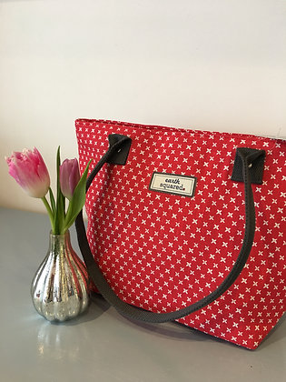 Red Spring Linen Tote Bag