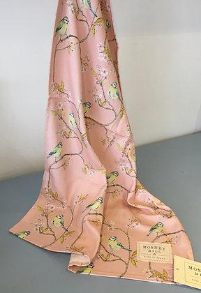 Blue Tit on Blossom Ditsy Print Tea Towel - Pink