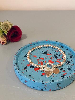 Silver & Rose Gold Heart Bracelet