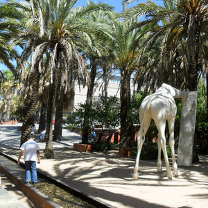 Palm grove and sculptures