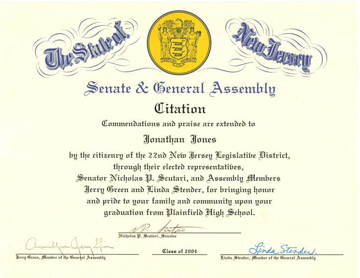 NJ State Senate Commendation