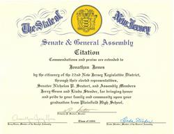 NJ State Senate Commendation