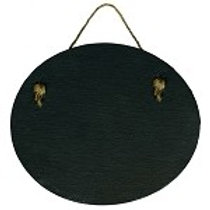 Real Slate Oval Shape with Natural Jute Hanger