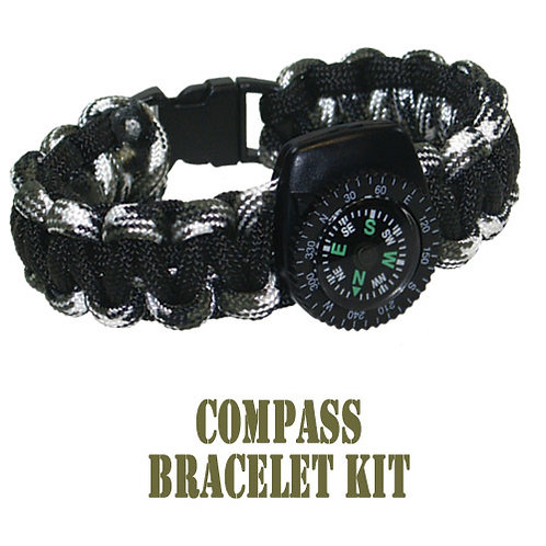 550 Parachute Cord Black Camo Compass Bracelet Kit