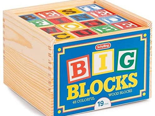 Classic Wooden ABC Big Blocks - 48 Pieces Wood Alphabet Blocks