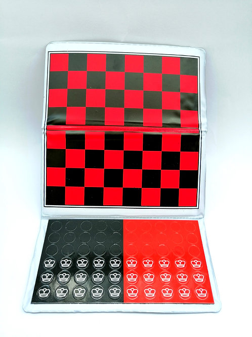 MAGNETIC CHECKERS SET - TRAVEL SIZE 10 INCHES