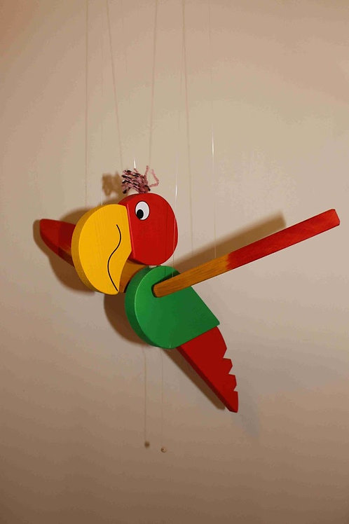 Wooden Flying Parrot Mobile