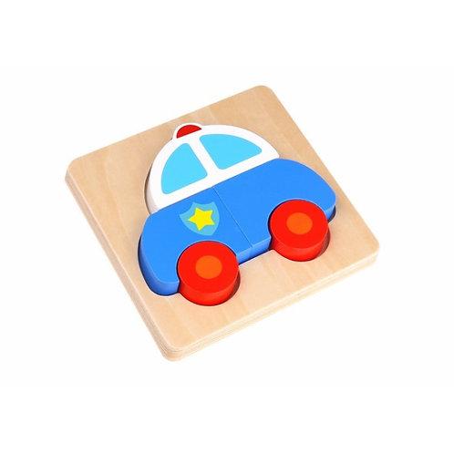 Mini Wooden Puzzle - Police Car