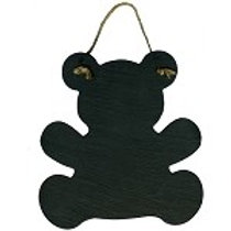 Real Slate Teddy Bear Shape with Natural Jute Hanger