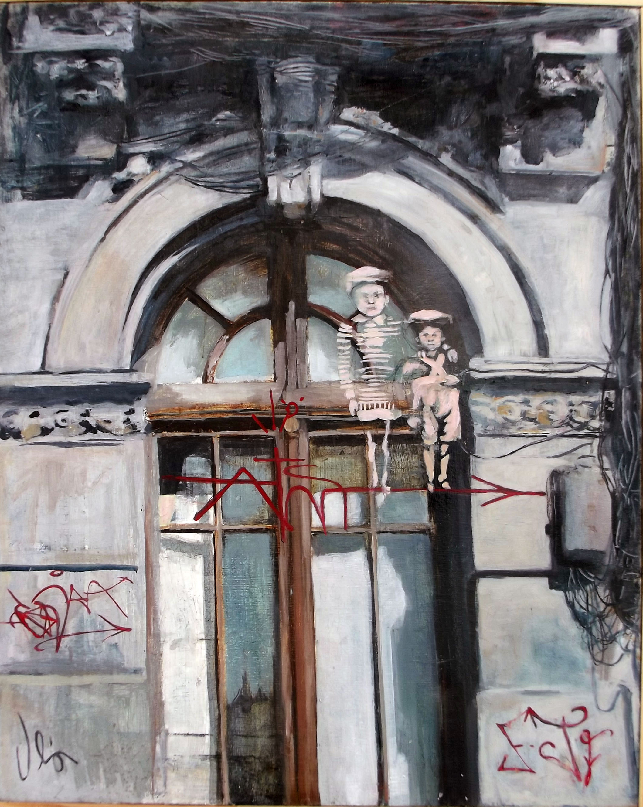 fachada y niños 1930