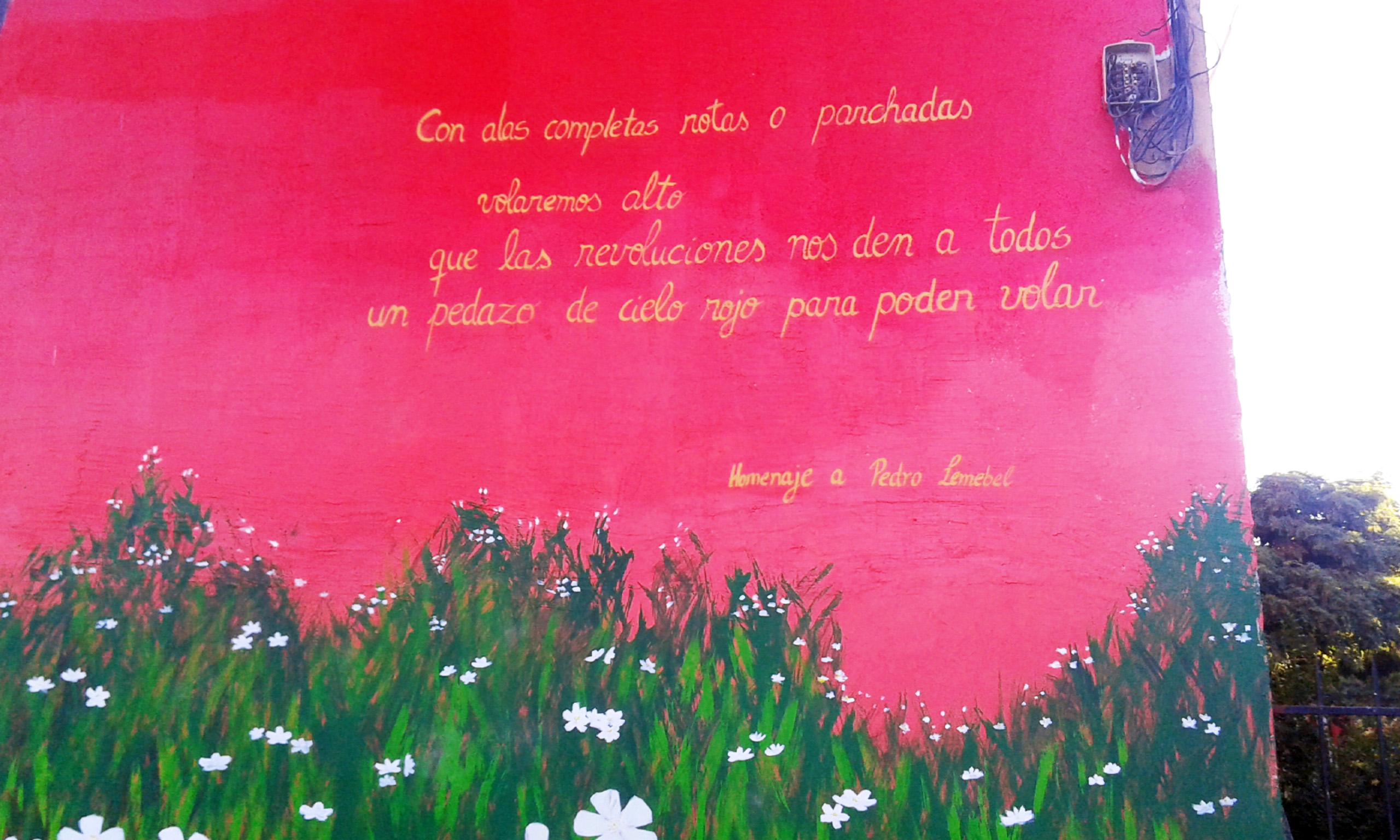 frase en MUral Pedro Lemebel