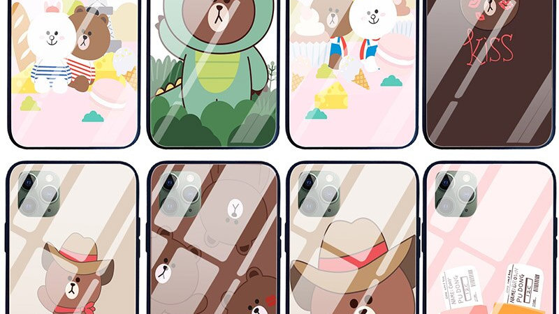 Brown Cony Love Tempered Glass Phone Cases All Models