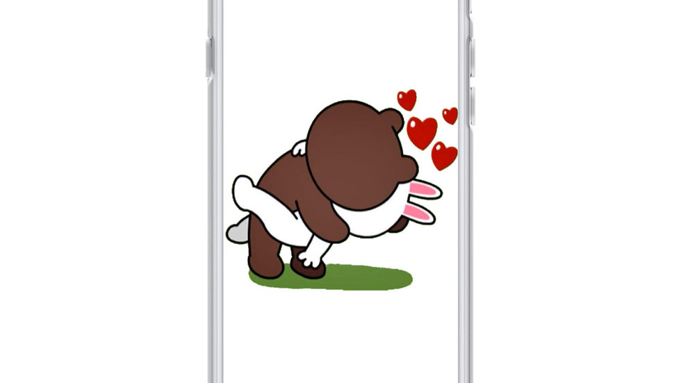 Brown Bear Kissing Cony Bunny iPhone Case