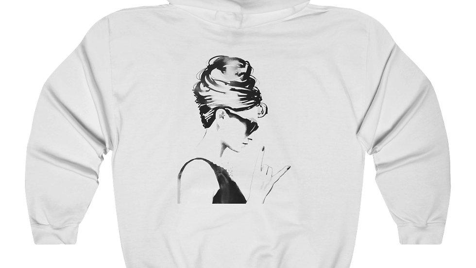 Peace Out (front) Audrey Hepburn (back) Unisex Heavy Blend Hooded Sweatshirt