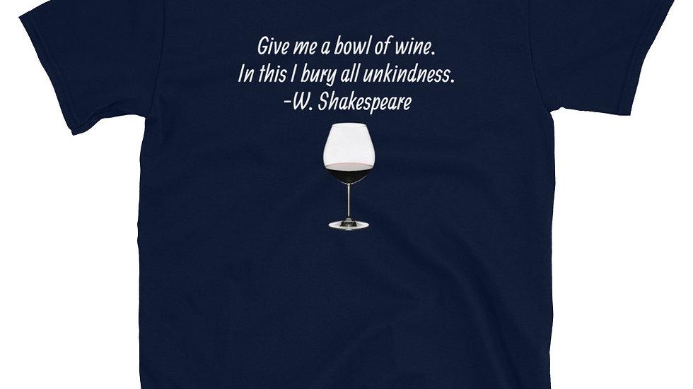 Shakespeare bowl of Wine Blue T-Shirt