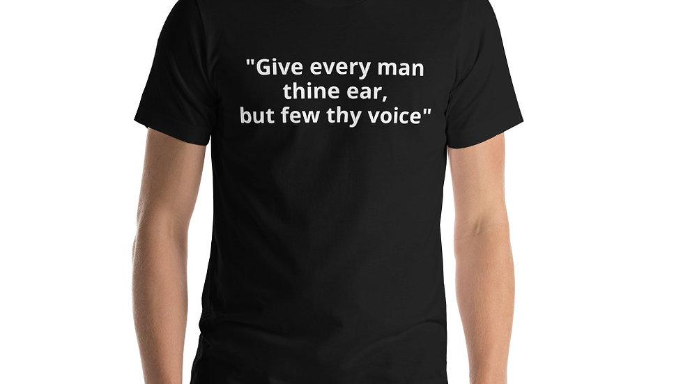 Short-Sleeve Unisex T-Shirt Shakespeare Hamlet Polonius Voice