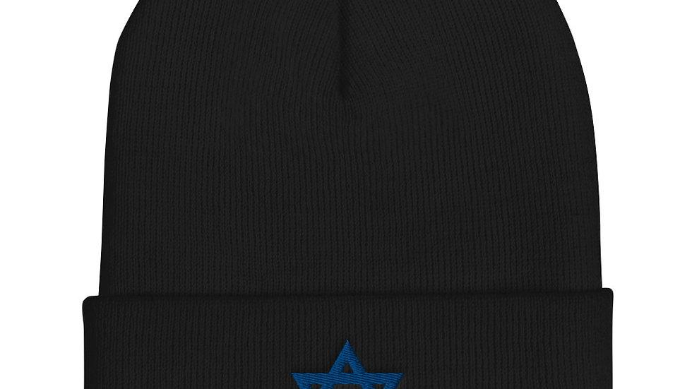Star of David Cuffed Beanie Winter Hat Jewish Star