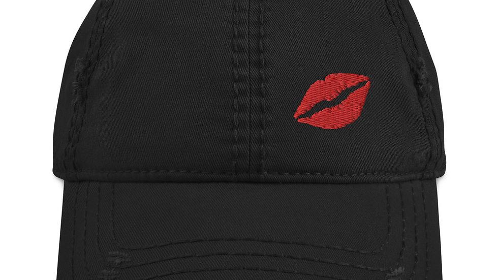 Cute Distressed Kissy Lips  Hat