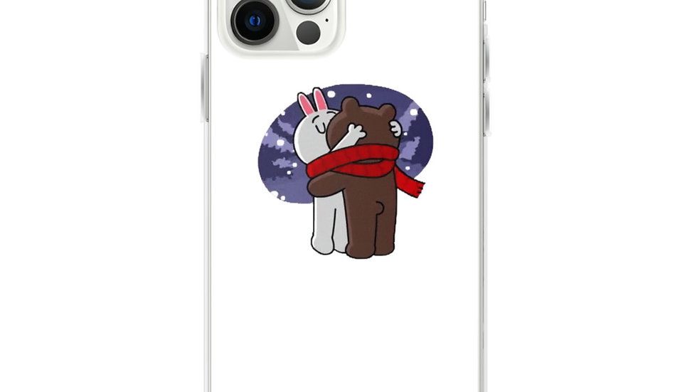 Winter Brown Bear Kissing Cony Bunny iPhone Case