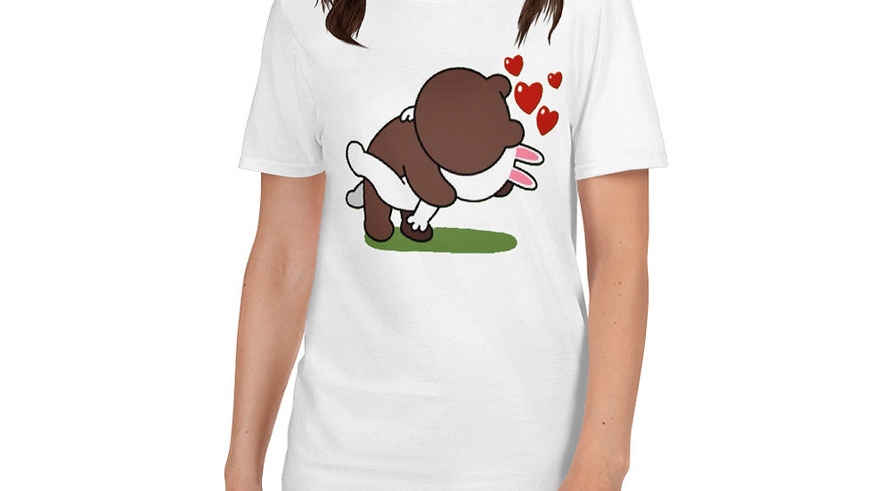 Brown Bear Kissing Cony Bunny T-Shirt