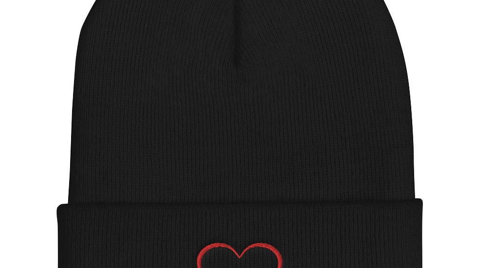Cute Heart Cuffed Beanie Winter Hat